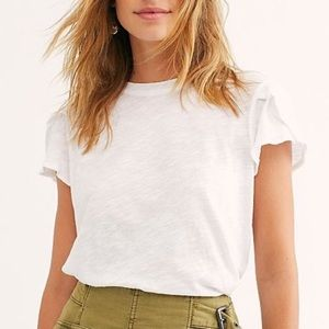 Free People Latte Flutter Sleeve Tee Size Small